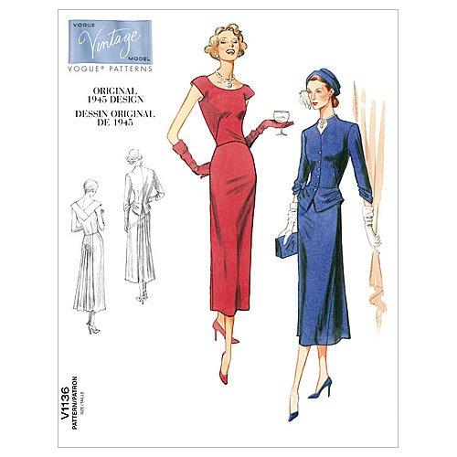 1950s Sewing Patterns | Dresses, Skirts, Tops, Mens 1945 Vogue Patterns V1136 Misses Jacket and Dress Size AA (6-8-10-12) $11.99 AT vintagedancer.com