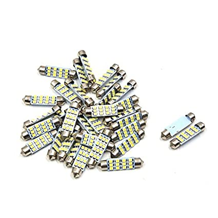eDealMax 30pcs coche Blanco bombilla LED 41mm Festoon 12 SMD 1210 Dome Mapa Interior de luz