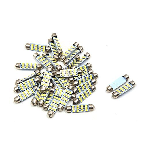 Amazon.com: eDealMax 30pcs coche Blanco bombilla LED 41mm Festoon 12 SMD 1210 Dome Mapa Interior de luz de lámpara: Automotive