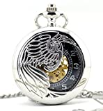 Infinite U Silver Eagle/Angel/Phoenix Wings Hollow Skeleton Steel Mechanical Pocket Watch