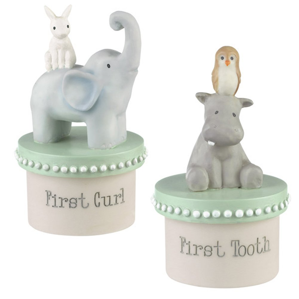 Elephant Hippo Animals 2 Piece First Curl and Tooth Resin Keepsakes Boxes Set