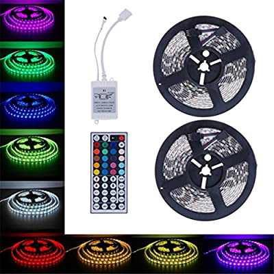 Koolee Flexible Led Strip Light 5050 SMD RGB 2X5M 300LEDs LED Light Strip with 44 Key IR Remote Controller, Holiday Home Car DIY Christmas Decoration Led Strip Lights