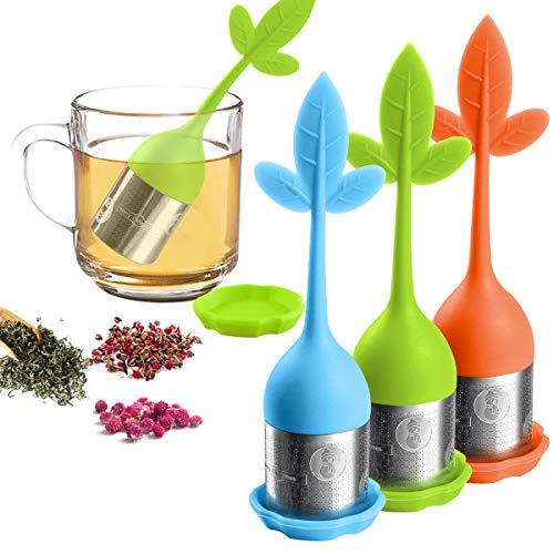 Loose Leaf Tea Infuser, Tea Strainer for Tea Pot, Mug, Tea Filter for Steeping Loose Tea Steeper, for Bottle, the Teapot, Tea Cups, Fennel Tea, Rooibos tea, Herbal Tea 3 Set - Green/Blue/Orange ()