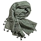 StarGo All Season Lightweight Fashion Women Wrap Shawl Scarf Scarves with Tassels and Embroidery Patterns (Green Olive (Flower))