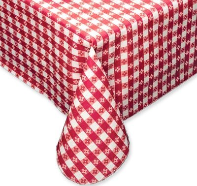 """Red Tavern Check Vinyl Flannel Back Tablecloth - 52"""" x 90"""" Oblong"""