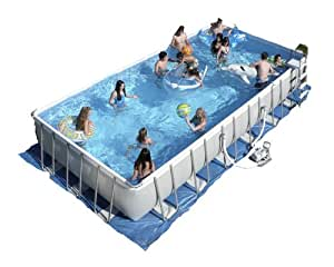 Intex ultra frame 32 by 16 foot by 52 inch rectangular pool set garden outdoor for Intex rectangular swimming pool