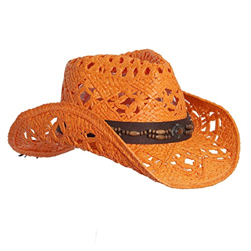 Vamuss Orange Straw Cowboy Hat W/Vegan Leather Band & Beads, Shapeable ()