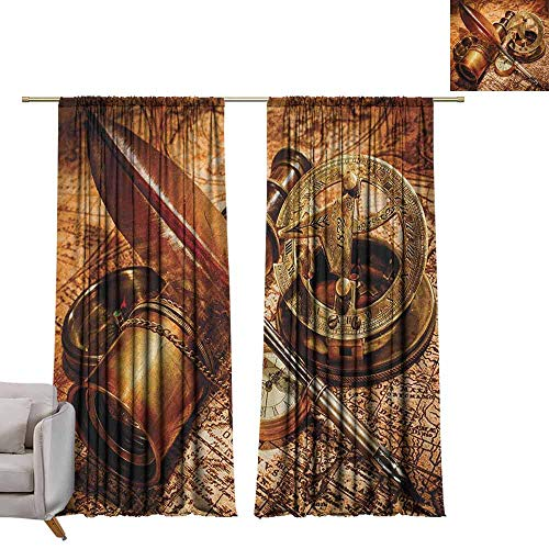 - berrly Curtains Window Drapes Antique,Compass Goose Quill Pen Spyglass and a Pocket Watch Lying on an Old Map Print, Orange Brown W96 x L96 Blackout Window Curtain