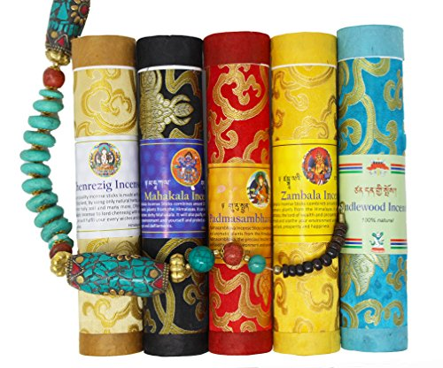 Juccini Tibetan Incense Sticks ~ Spiritual Healing Hand Rolled Assorted Incense Made from Organic Himalayan Herbs (Assorted) ()