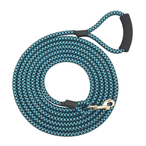 - Shorven Nylon Strong Dog Rope Lead Leash Training Dog Lead with Soft Handle 6-20 FT Long Blue/Black (Dia:0.5