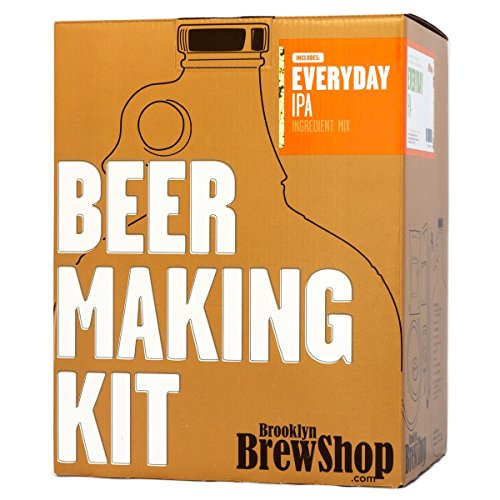 Brooklyn Brew Shop Everyday IPA Beer Making Kit: All-Grain Starter Set With Reusable Glass Fermenter, Brew Equipment, Ingredients (Malted Barley, Hops, Yeast) Perfect For Brewing Craft Beer At Home ()