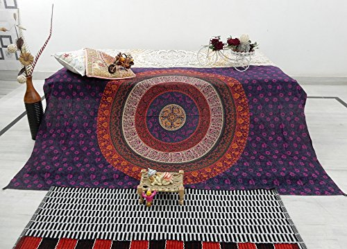 Hippie Mandala Traditional Tapestry boho Gypsy bedspread Purple Pink Colorful Beach Blanket throw Tapestries   Twin size (215 x 140 cms)   Corner sturdy LOOPS   by Plush Decor