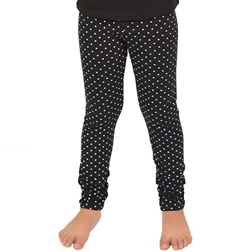 (Stretch is Comfort Girl's Leggings Black Polka Dot Large )
