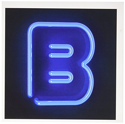 3dRose Monogram letter B abstract neon blue lit shining illuminated - Greeting Cards, 6 x 6 inches, set of 12 (gc_155122_2) ()