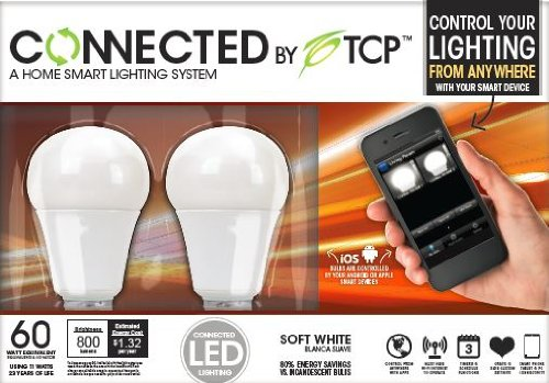 TCP Connected Smart LED Light Bulb Starter Kit - Gateway plus 2 wireless A19 Soft White (2700K) LED Light Bulbs