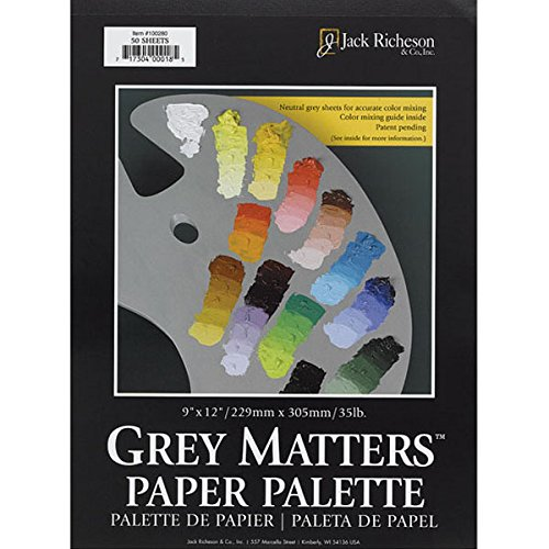 Jack Richeson 100289 Grey Matters Palette Grey Matters Paper Palette 30 Sheets 16 X 20 (Grey Pad)