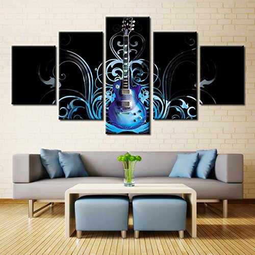 [Small] Premium Quality Canvas Printed Wall Art Poster 5 Pieces / 5 Pannel Wall Decor Blue Electric Guitar Painting, Home Decor Pictures - With Wooden Frame