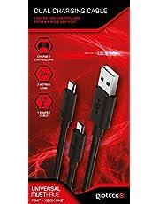Gioteck Dual Charging Ladekabel für PS4 Xbox One (3m, zwei Controller gleichzeitig laden, Y Kabel)