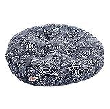Japanese Style Linen Yoga Bolster Tatami Floor Round Cushion(Blue,17'')