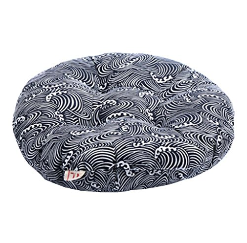 Japanese Style Linen Yoga Bolster Tatami Floor Round Cushion(Blue,17