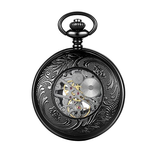 LYMFHCH Steampunk Blue Hands Scale Mechanical Skeleton Pocket Watch with Chain As Xmas Fathers Day Gift by LYMFHCH (Image #6)