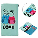 "Universal Cell Phone Flip Case, JULAM PU Leather Skin Protective Folio Case Cover Wallet Bag Card Slots Compatible LG G Stylo G4 Stylus 4G LS770 H631 F560K 5.7"" More (Owl Love)"