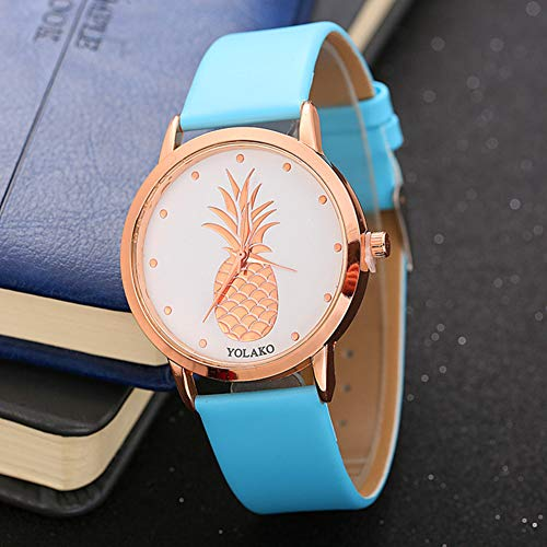 Ladies Watch, Women Pineapple No Number Round Dial Faux Leather Band Analog Quartz Wrist Watch by Gaweb (Image #6)