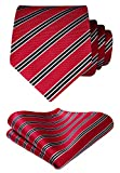 HISDERN Striped Wedding Tie Handkerchief Woven Classic Men's Necktie & Pocket Square Set Red