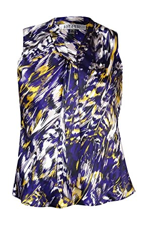 Kasper Women's Sleeveless Printed Tie Neck Charmeuse Blouse (PS, Plum Multi) Charmeuse Sleeveless Tie
