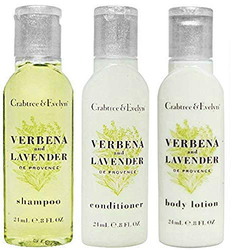 Crabtree & Evelyn Verbena And Lavender Shampoo, Conditioner & Body Lotion Travel Size (3 Piece Set)