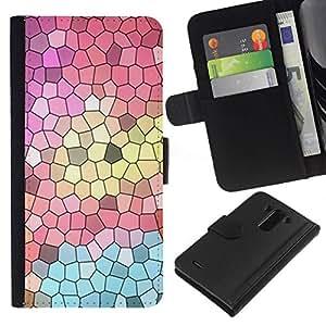 All Phone Most Case / Oferta Especial Cáscara Funda de cuero Monedero Cubierta de proteccion Caso / Wallet Case for LG G3 // Church Polygon Art Abstract Teal Pink