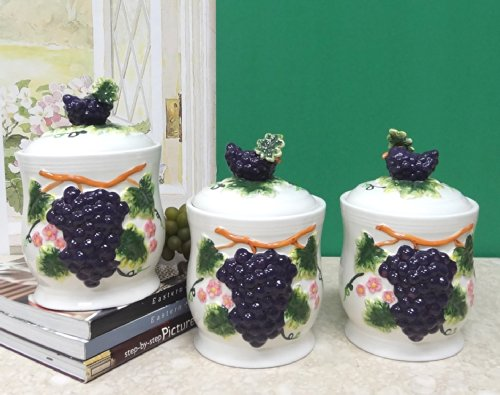 wine and grape canister set - 6