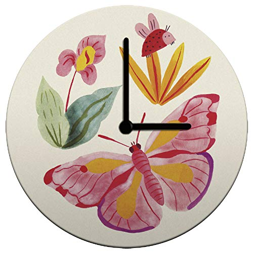 Mouse + Magpie Ladybug and Butterfly Kids Wall Clock Decorative 12'', Quiet, Non-Ticking, Perfect for Kids or Toddler Room, Nursery, Playroom or Office, Great Gift (Black Hands) -