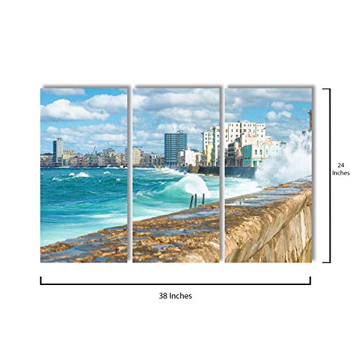 """3 Piece Canvas Wall Art - Sea Waves Crashing On The Malecon Seawall - Modern Home Decor Stretched and Framed Ready to Hang - 12""""x24""""x3 Panels"""