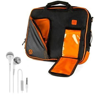 VanGoddy Pindar Sling - BLACK NEON ORANGE Pro Deluxe Shoulder Messenger Carrying Bag for Lenovo Yoga 2 13' inch Windows Laptop + White Hands-free Earphones Headphones w/ Microphone
