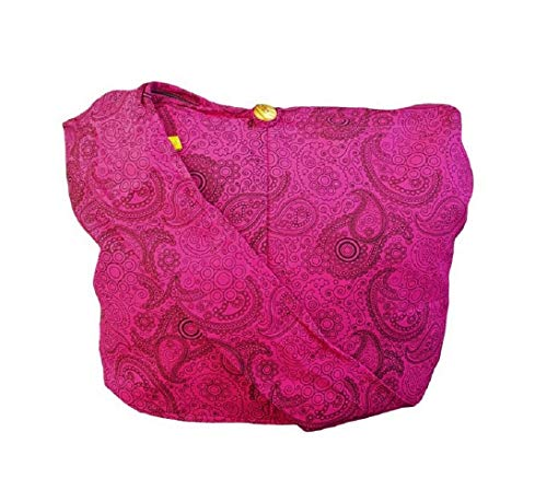 BTP! Thai Cotton Hippie Hobo Sling Crossbody Bag Messenger Purse Paisley Print Large (Hot Pink PL18) (Paisley Diaper Bag Pink)