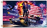 FunnyToday365 Digital Print Donald Trump Tank Flag 90X150Cm Polyester Banner With 2 Metal Grommets 3X5Ft