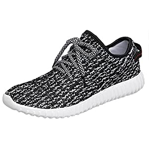 CAIHEE Men's Lightweight Breathbale Fashion Sports Sneakers Casual Athletic Shoes (8D(M)US, Black White)