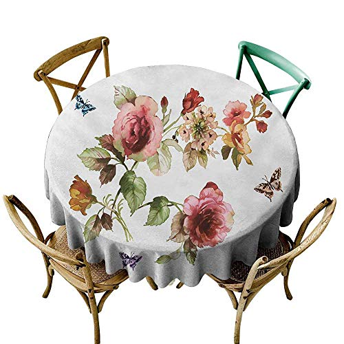 - Zzmdear Oil-Proof and Leak-Proof Tablecloth Flower Shabby Chic Roses Buds Leaves Tulips Floral Details Butterfly Natural Eco Print Party D71 Multicolor