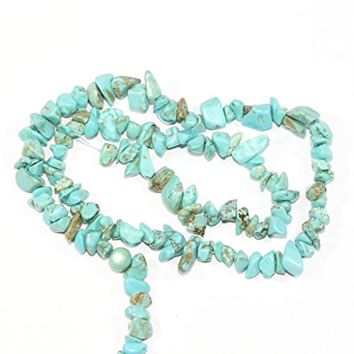 AAA Natural Turquoise Howlite Gemstones Smooth Chips Beads Free-form Loose Beads ~8x5mm beads for Jewelry Making (1 strand, ~16