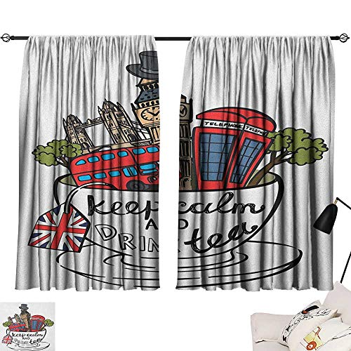 Warm Family Tea Party Thermal Curtains Great Britain and London Culture Landmarks Icon Set in Tea Cup with Popular Quote Suitable for Bedroom Living Room Study, etc.55 Wx39 L Multicolor]()