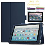 EpicGadget Amazon Fire HD 10'' Case (2017) With Auto Sleep/Wake, Fire HD 10 7th Gen Stand Lightweight Cover PU Leather Case For 2017 Fire HD 10 + 1 Screen Protector and 1 Stylus (Navy Blue)