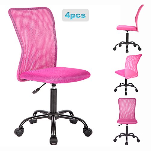 Office Chair Desk Chair Mesh Computer Chair with Lumbar Support No Arms Swivel Rolling Executive Chair for Back Pain,Pink 4 Pack