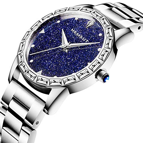 (Hemsut Rose Gold Tone Stainless Steel Band Analog Quartz Watch Women Lady Dress Watch Women Wrist Watch with Blue Sandstone Dial)