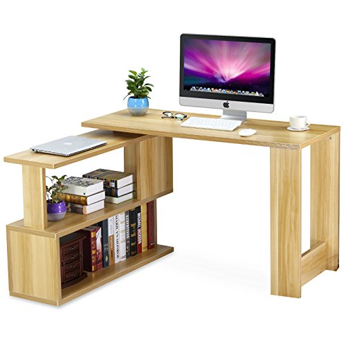 Tribesigns Modern L Shaped Desk Rotating Computer Desk Pc