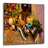 3dRose dpp_52081_3 Hispanic Girl and Boy Ceramic Hanging on a Mirror with Hot Chilis and Leaves at Mexican Restaurant-Wall Clock, 15 by 15-Inch