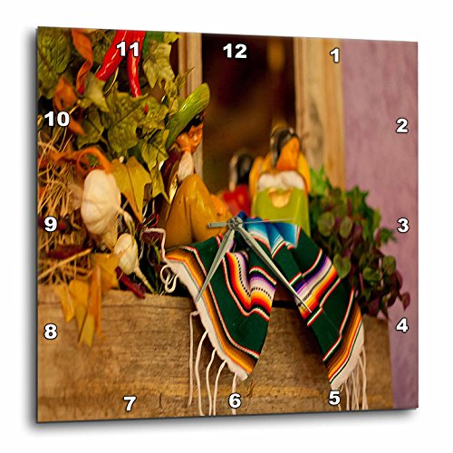 3dRose Hispanic Girl and Boy Ceramic Hanging on A Mirror with Hot Chili's and Leaves at Mexican Restaurant-Wall Clock, 13 by 13