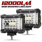 Side Shooter LED Pods - 2Pcs 4' 12000LM LED Light Bar Spot Flood Combo Driving Work Lights For Truck Jeep ATV UTV Pickup Boat, IP68, 18000LM. 2 Years Warranty