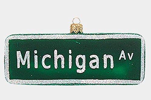 Michigan Avenue Street Sign Polish Glass Christmas Ornament Chicago - Michigan Shops Avenue