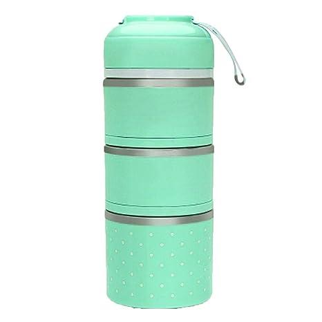 Fiambrera Térmica, Multicapa Lunch Box de Acero Inoxidable con Aislante Bento para Alimentos Calientes, a prueba de fugas, apilable, con asa, para ...